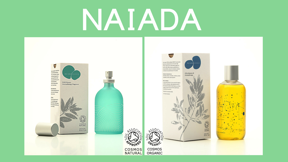 Aceite corporal NAIADA 100% orgánico certificado COSMOS ORGANIC y Fragancia de Aromaterapia NAIADA certificada COSMOS NATURAL